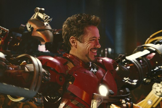 "Actor Robert Downey Jr. plays billionaire industrialist Tony Stark, aka Iron Man, in ""Iron Man 2"" at an undisclosed location in this undated photo released to the press on May 6, 2010."