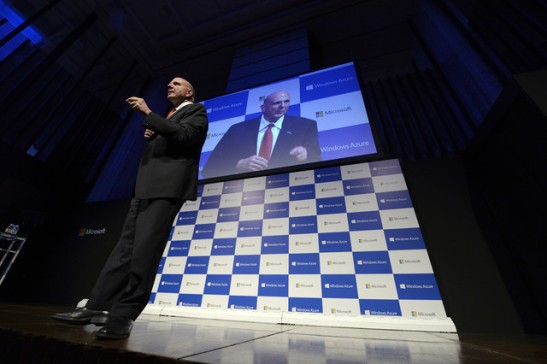 Steve Ballmer, chief executive officer of Microsoft Corp., speaks during a news conference in Tokyo on May 23, 2013. Microsoft, the largest software maker, will hire several thousand workers in China to support new cloud computing services and smartphones using its Windows operating system, Ballmer said. Photographer: Akio Kon/Bloomberg