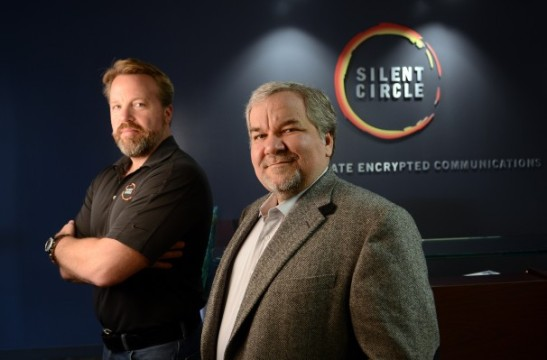 Mike Janke, left, and Phil Zimmermann founded Silent Circle to encrypt phone calls and text messages so they can't be intercepted.