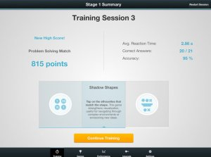 In Fit Brains Trainer, graphs track your performance over time in areas like memory and concentration.