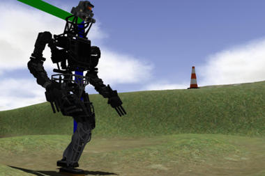 DARPA Virtual Robotic Challenge tasks included guiding the robot over different terrain, including uneven ground. DARPA/Jet Propulsion Laboratory