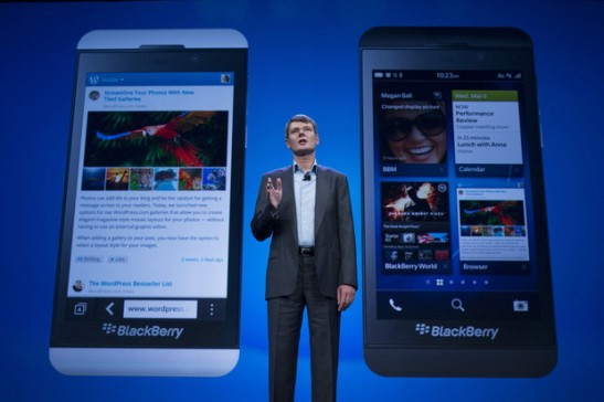 Thorsten Heins, chief executive officer of BlackBerry, speaks during the launch of the BlackBerry 10 in New Yorkon Jan. 30, 2013
