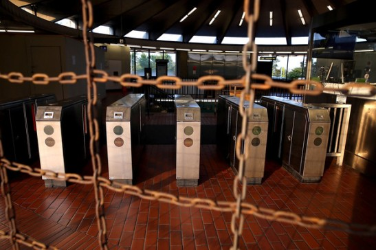 Justin Sullivan/Getty Images  Pay gates sit empty at the North Berkeley Bay Area Rapid Transit (BART) station July 1, 2013 in Berkeley, California.