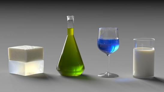 The subtleties in these computer-generated images of translucent materials are important. Texture, color, contrast, and sharpness combine to create a realistic image. (Courtesy of Ioannis Gkioulekas and Shuang Zhao.)