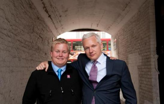 "Assange and Siggi in Paddington, London, in 2011.  Photo courtesy of Sigurdur ""Siggi"" Thordarson"