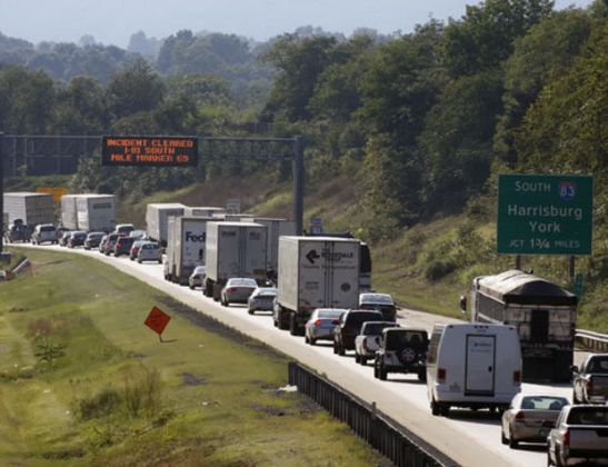Traffic is bumper to bumper traveling Southbound on Interstate 81 at the Lingelstown exit in Lower Paxton Twp. Thursday August 19, 2010. CHRIS KNIGHT, The Patriot-News (CHRIS KNIGHT, The Patriot-News, 2010)