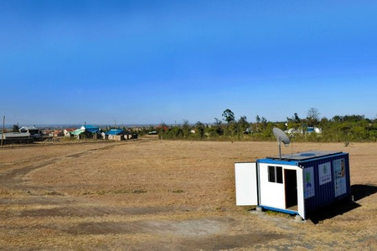 A solar-powered mobile internet cafe in the village of Embakasi, some 25 kms from Nairobi, fashioned from a shipping container.