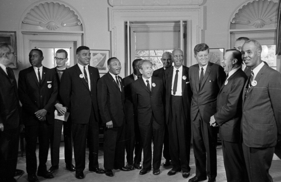 Leaders of the March on Washington, including the Rev.  Martin Luther King Jr. and John Lewis, meet with President John F. Kennedy. (AP)