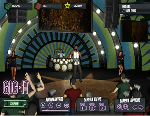 Play GIG-IT lets gamers pick an artist, dress him or her in signature streetwear and create a concert that can be shared with friends across Facebook (Image: Play GIG-IT)