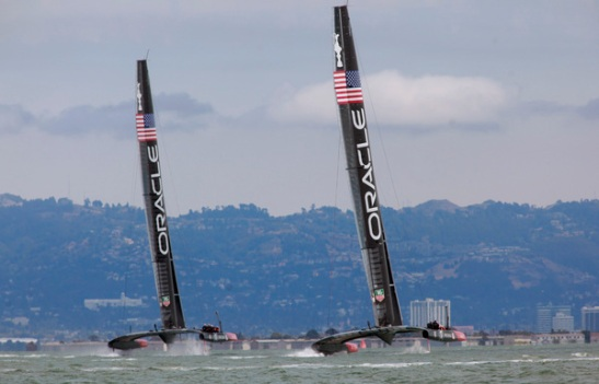 Oracle Team USA practices with their AC72's in San Francisco Bay before the start of the semifinals of the Luis Vuitton Cup between Sweden and Italy in San Francisco, Calif., on Tuesday, August 6, 2013. (Karl Mondon/Bay Area News Group)